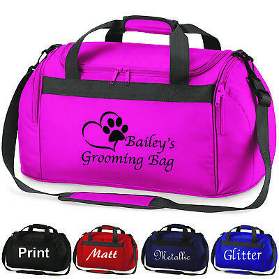 Personalised Dog Cat Grooming Holdall Bag, Pet Show,Printed Glitter Travel Case