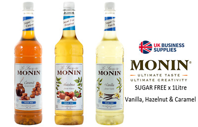 Monin Coffee Syrups SUGAR FREE 3 x Litre Bottles - Pump- AS USED BY COSTA COFFEE