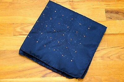 Navy Blue Floral Dot Made in Italy Silk Hand Rolled Pocket Square Handkerchief