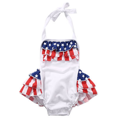 NWT Baby Girls Patriotic 4th of July Stars Stripes White Romper Jumpsuit Outfit