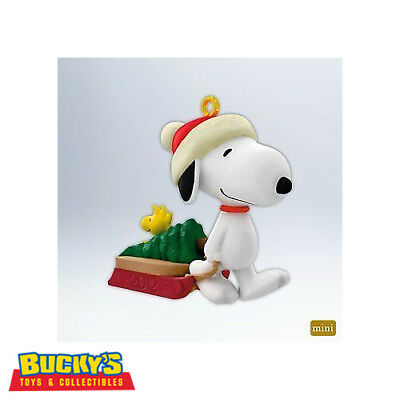 Winter Fun with Snoopy 2012 Hallmark Peanuts MINI Ornament Woodstock  Tree  Sled