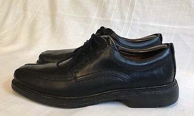 CLARKS UNSTRUCTURED Mens Black Leather Lace Up Oxford Shoe Bicycle Toe Size  9 N