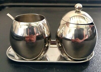 Sugar and Milk / Creamer Container - 4pc HD Stainless Steel Set w/ Tray & Spoon