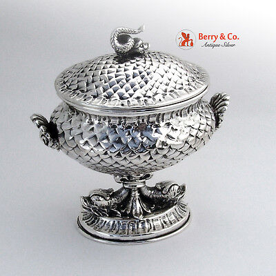 Dolphin Shell Covered Pedestal Bowl Italian 800 Silver 1900