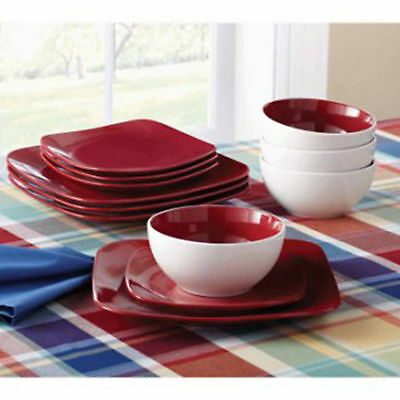 12-Piece Square Dinnerware Set Dinner Salad Plates Bowls Red Stoneware Dishes & 12-PIECE SQUARE DINNERWARE Set Dinner Salad Plates Bowls Red ...