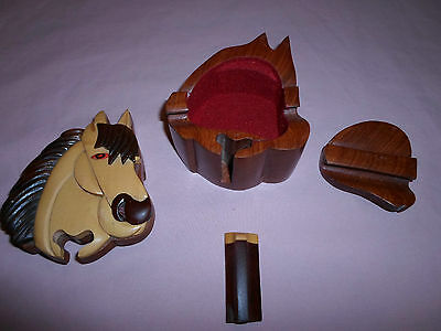 Horse *Wood Puzzle Jewelry Box* Trinket Secret Compartment Intarsia Hand Carved
