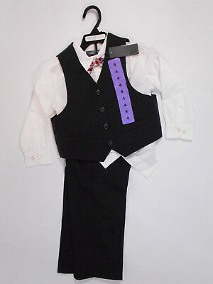 New Kenneth Cole Suit Boys Size 4 Black Red Bow Tie Vest Pants Shirt NWT