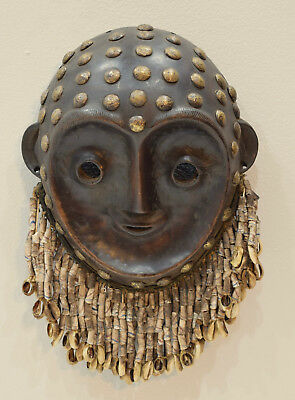African Mask Kwese Mask Brass Sandcast beads Wood African Mask