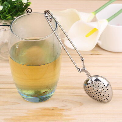 Stainless Steel Spoon Tea Ball Herb Mesh Infuser Filter Squeeze Strainer GU