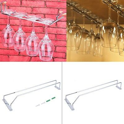 Wine Glass Rack Hanging Chrome Plated Stemware Holder Under Cabinet Home Bar GU