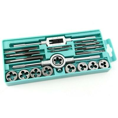 20Pcs M3-M12 Metric Adjustable Tap & Die Wrench Kit Screw Thread Hand Tool Case