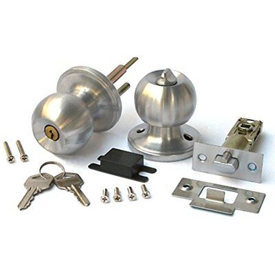 Duratron Stainless Keyed Entry Rotation Round Door Knobs Handle Entrance Passage