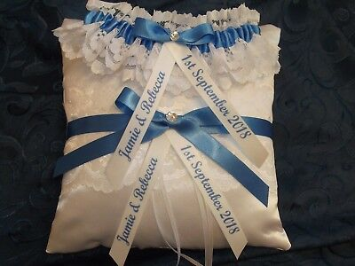 Personalised Blue Wedding Garter And Matching Ring Cushion