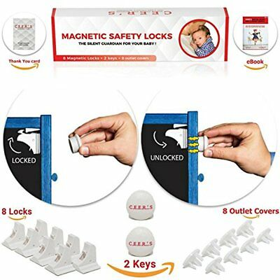 Magnetic Cabinet Locks Child Safety 8 Baby Proof And 2 Keys For All Cabinets + -
