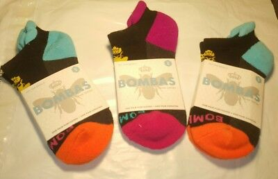 New Bombas Women's Pedi Socks Lot Of 3 pairs Multi Colored Sz Small