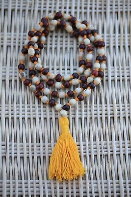 Tulsi Chandan Mala Handmade White Tulsi Sandalwood Japa Mala Necklace Yoga