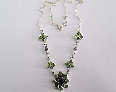FREE P&P!!! RARE & HAND MADE 16cts 23 Gems AMETHYST & PERIDOT S Silver NECKLACE