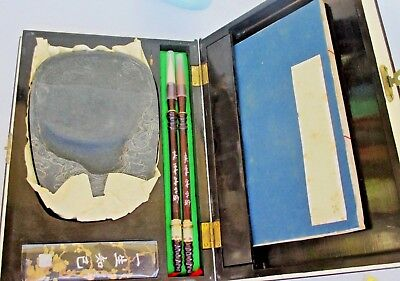 Chinese SUMI Calligraphy Writing Painting Brush Set-Ink-Stone-Paper-Lacquer case