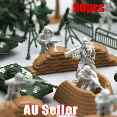 90PCS Plastic Model Playset Toy Soldiers Action Figures Army Men Accessories  GU