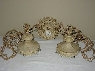 "Double Swag Light Lamp Vintage Shabby Chic Plug Outlet Bathroom 4"" Fitter"