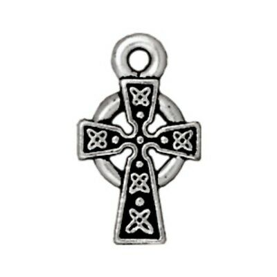 TierraCast Small Celtic Cross Drop, Antiqued Silver Plated Pewter (T428)