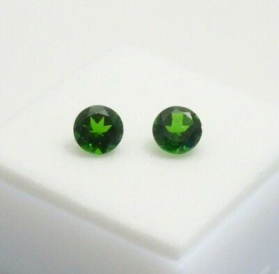 1.50CTW+ Matched Pair of Russian Chrome Diopside - 6mm Round - Loose Gemstones