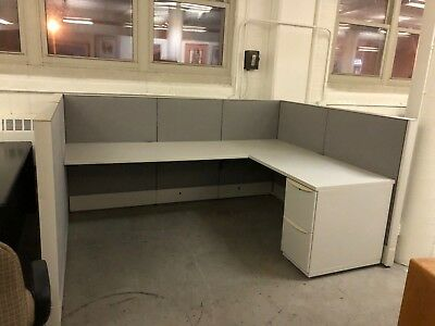 """6' x 8' x 48""""H Cubicle / partition system by Haworth Premise in Gray fabric"""