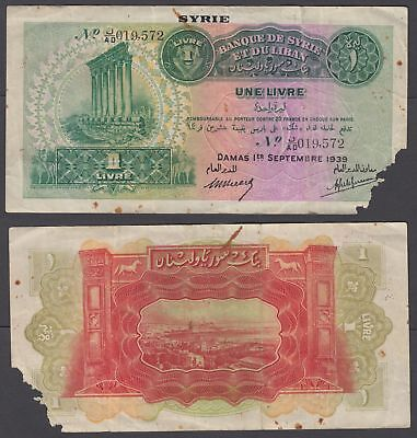Syria 1 Livre 1939 (VG) Condition Banknote P-40a