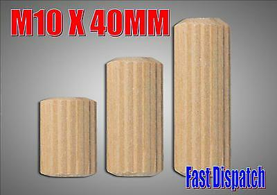 M10 10mm x 40mm wooden dowels hardwood fluted grooved you choose quantity