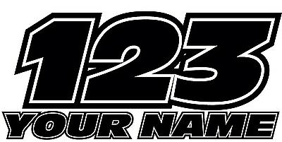 """Any Name Any Number Motorbike Motocross Wall Decal Sticker 6"""" Wide Black"""