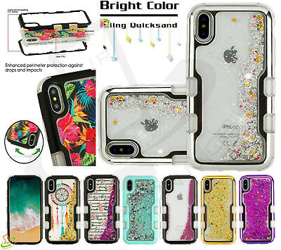 iPhone 7 8 Plus TUFF Hybrid Bling Liquid Glitter Quicksand Case Protective Cover