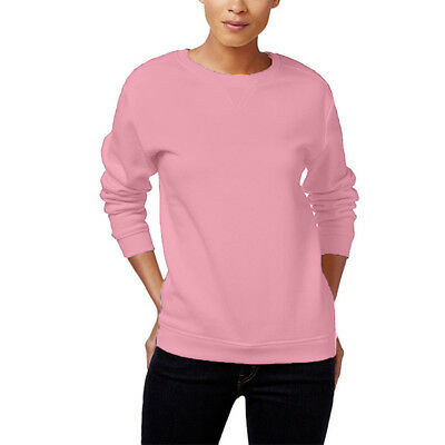 Karen Scott Crew-Neck Fleece Sweatshirt, Mellow Rose, XL