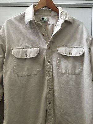 REI Mens Beige Rugged Cotton Hiking Shirt Size Large Vintage L/S Large nice look