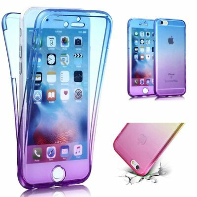 For iPhone 7 360 Front and Back Protection Full Body Gradient Gel Case Cover B/P
