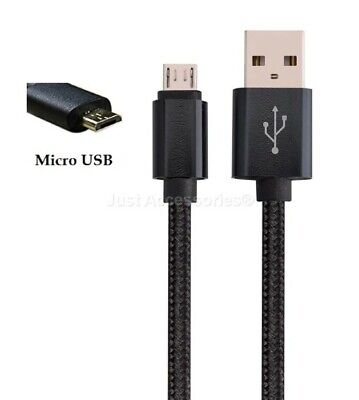 3M Long Micro USB Cable For PS4 Remote Fabric Nylon Braided Charger Strong Black