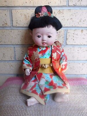 Vintage Japanese Jointed Female Child Doll Sitting With Huge Eyes & Smile!