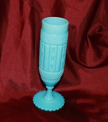 turquoise blue milk glass vase detailed pattern panels  20cm