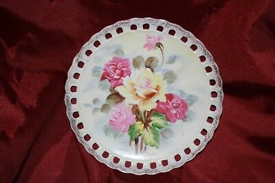 vintage signed hand painted pierced china wall plate roses decoration gold HASHI
