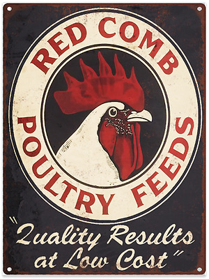 Red Comb Poultry Chicken Feed Ad Baked Metal Repro Sign 10 x 12 60108