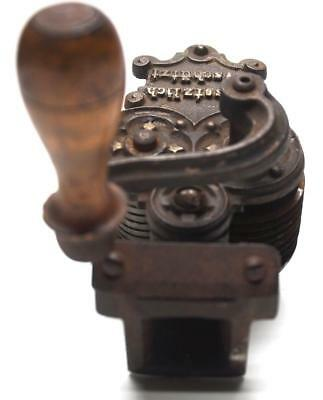 RARE Antique German Bean Slicer Grinder Meat Ornate Metal Wooden Handle Vtg Atq