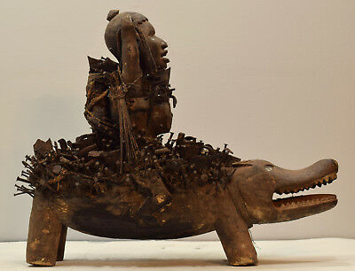 African Stautue Songye Animal Body Human Figure Rider Nail Fetish Congo Statue