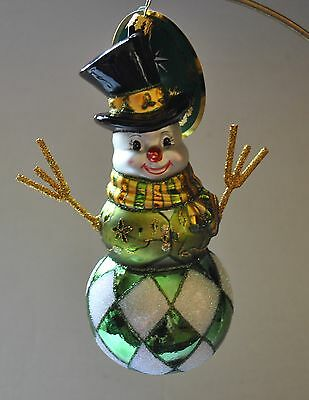 NEW RADKO Glass Ornament WITH ARMS WIDE OPEN Lymphoma Charity Awareness SNOWMAN