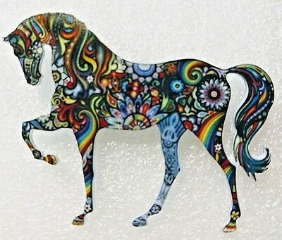Horse Standing Large Multicolor Acrylic Pin Brooch Jewelry