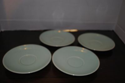 Set of 4 Lil Ray Pastels Light Green colored ceramic saucers 6 in diameter