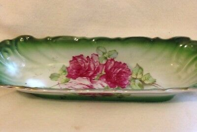 Vintage LaBelle China Celery Dish Marked W P By wheeling Pottery/ 1890's/ Roses