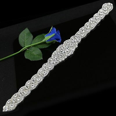Bridal Crystal Applique Trim DIY Sew on Wedding Prom Dress Sash Belt (17.7*2.2)