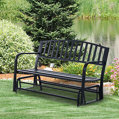 Outsunny Bench Glider Rocking Chair Outdoor Patio Garden Furniture Deck Loveseat & OUTSUNNY BENCH GLIDER Rocking Chair Outdoor Patio Garden Furniture ...