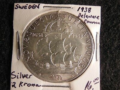 SWEDEN 1938G 2 Kronor Silver Coin BU- Ship-Settlement of Delaware