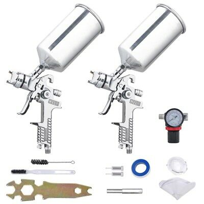6Pcs 1.3 1.8 HVLP Spray Gun Kit Gravity Auto Paint Primer Basecoat Clearcoat