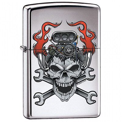 Zippo Lighter - Motor Skull High Polish Chrome - ZCI000417